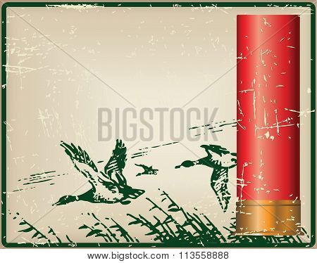 Cartridges For The Shotgun And Flying Ducks