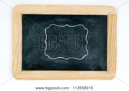 Wooden Vintage Chalkboard Frame Isolated On White