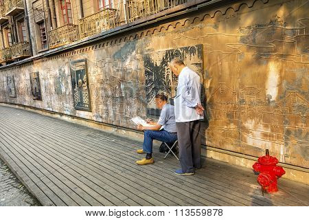 Chinese Painter Old Duolon Cultural Road Apartments Hongkou District Shanghai China