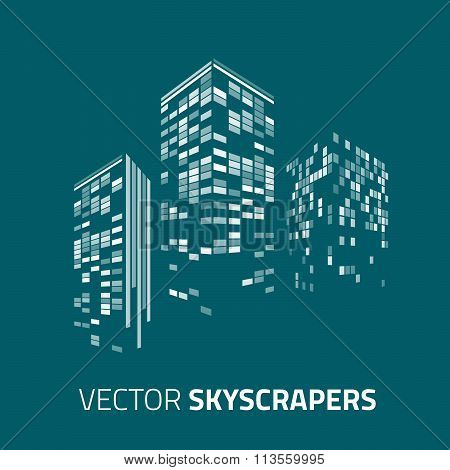 City background - skyscrapers with lights. Cityscape background.