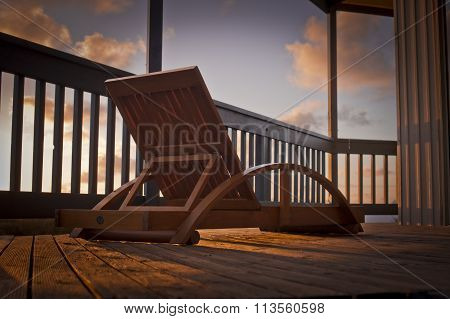 Deck Chair At Sunset
