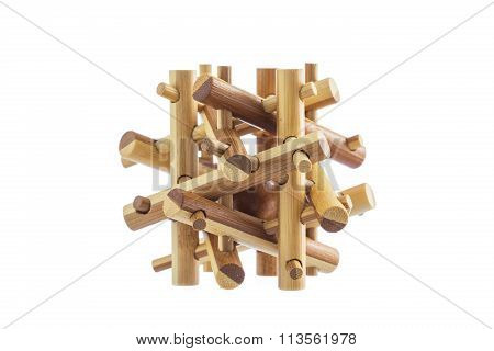 Wooden Puzzle, Logical Toy Game Isolated On White Background