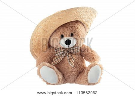 Fluffy Teddy Bear With Straw Hat Hat Isolated On A White Background