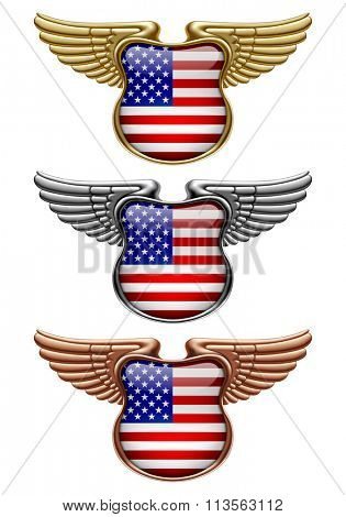 Gold, silver and bronze award signs with wings and USA state flag. Vector illustration
