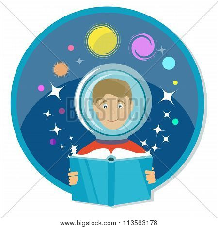 Boy Reading A Book. Science Fiction, Sci-fi. Power Of Imagination