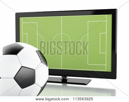 3D Tv Screen With Soccer Field And Ball