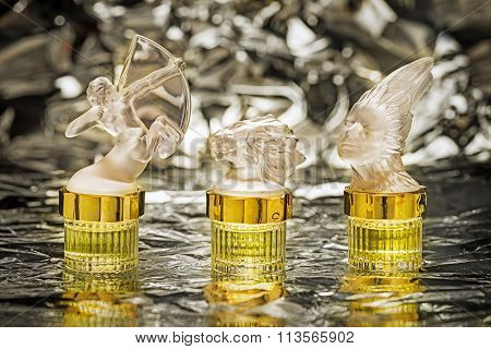 Moscow, Russia - January 07, 2016: Three Parfume Lalique Bottles Zodiac Series: Archer, Lion And Lad