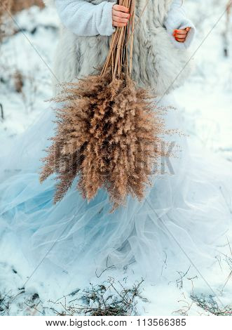 bouquet of lush reeds in the snow
