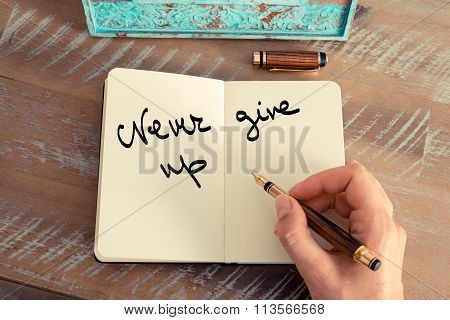 Motivational Concept With Handwritten Text Never Give Up