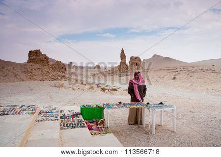 Bedouin Selling Handcrafts At The Site Of The  Ancient City Of Palmyra, Syrian Desert