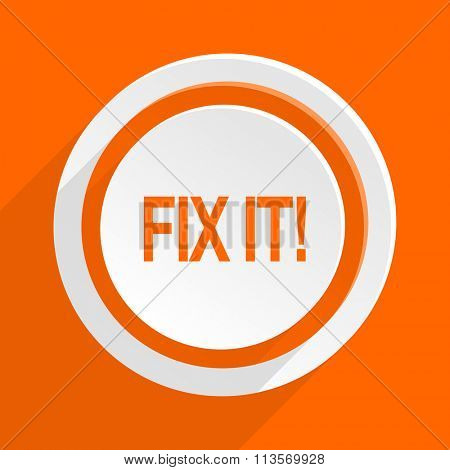 fix it orange flat design modern icon for web and mobile app