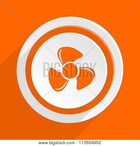 fan orange flat design modern icon for web and mobile app