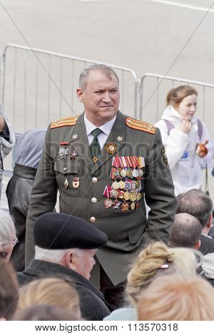 Russian Colonel On Celebration At The Parade On Annual Victory Day