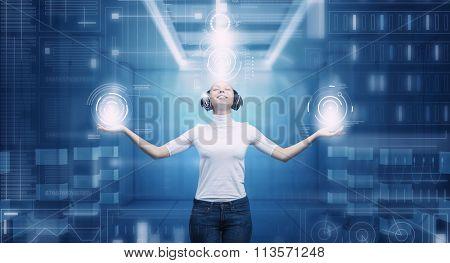 Girl in virtual designed room