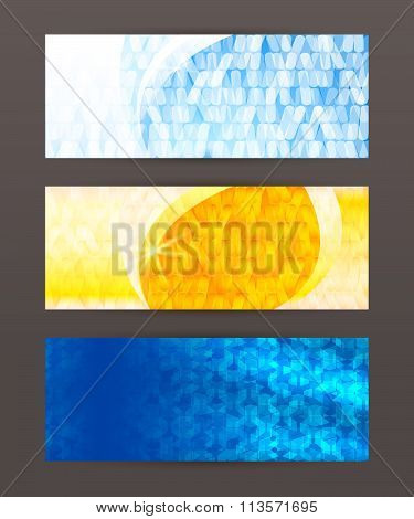 Header Design Element Mesh Set Horizontal Banner