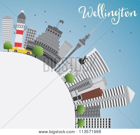 Wellington skyline with grey buildings, blue sky and copy space. Business travel and tourism concept with place for text. Image for presentation, banner, placard and web site.