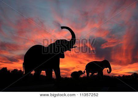 Elephant Family Cross the Serengetti
