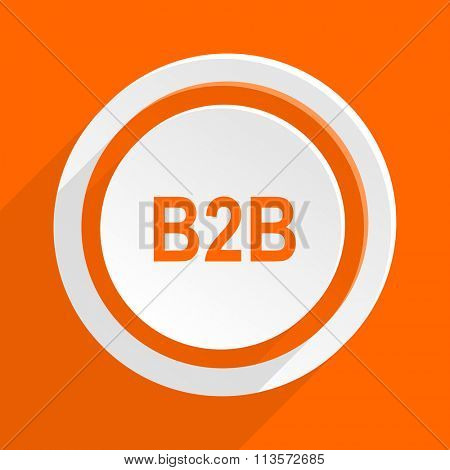b2b orange flat design modern icon for web and mobile app