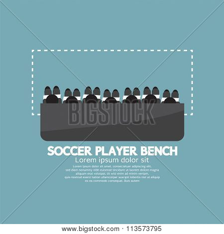 Top View Of Soccer Player Bench.