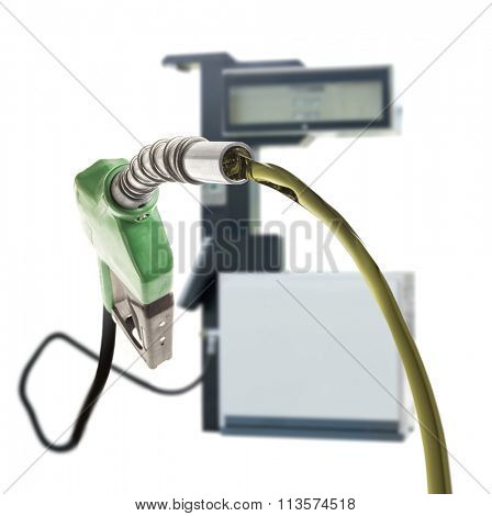 Green gas nozzle pouring fuel and the station on white background