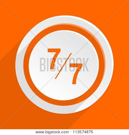 7 per 7 orange flat design modern icon for web and mobile app
