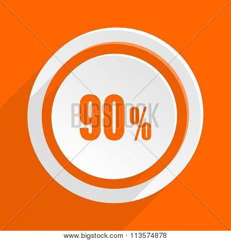 90 percent orange flat design modern icon for web and mobile app