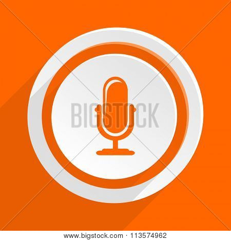microphone orange flat design modern icon for web and mobile app