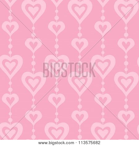 Pink hearts and pearls vector seamless pattern
