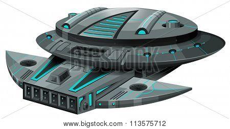 Black spaceship on white background illustration
