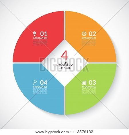 Infographic circle banner. Vector template with 4 steps, parts, options