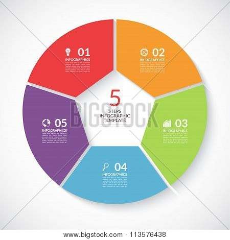 Infographic circle banner. Vector template with 5 steps, parts, options