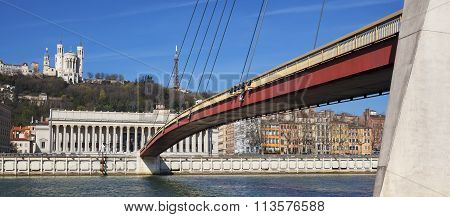 View Of Saone River At Lyon With Red Footbridge
