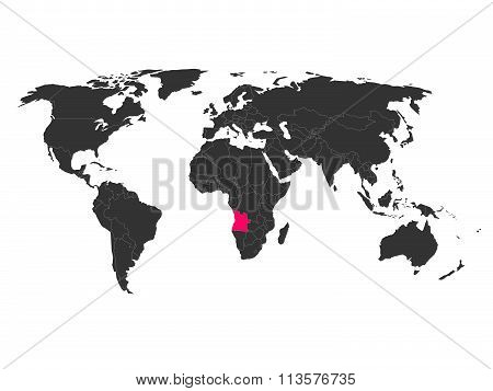 World map with highlighted Angola