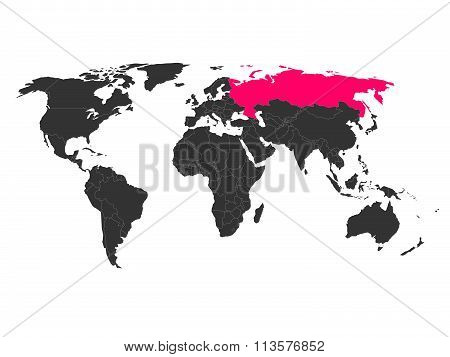 World map with highlighted Russia