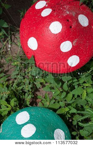 Top of Two stone mushroom in the green grass garden