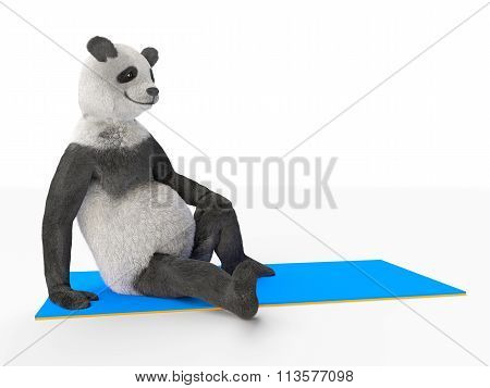 panda bear resting on blue mat sports Illustration