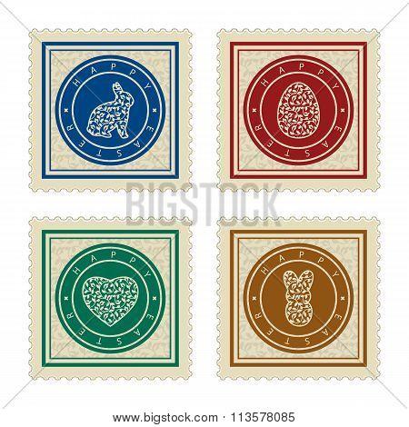 set of four easter postmarks