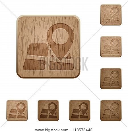 Map Location Wooden Buttons