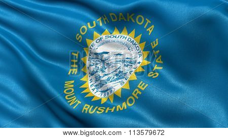 US state flag of South Dakota with great detail waving in the wind.