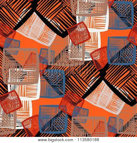 Seamless vector abstract pattern using tilt white red black color scheme
