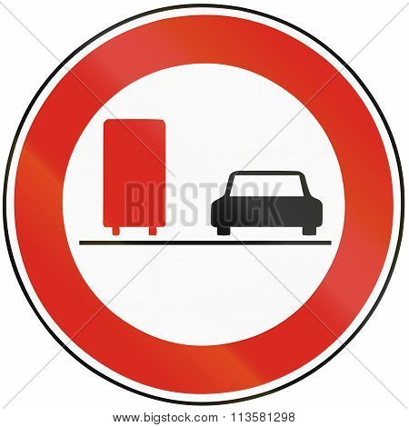 Road Sign Used In Slovakia - No Overtaking For Lorries