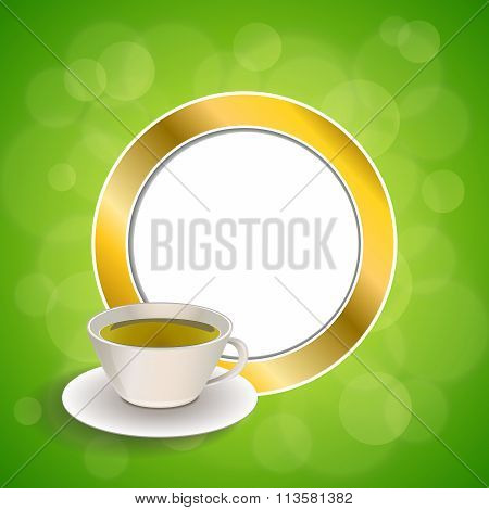 Abstract background drink green tea cup gold circle frame illustration vector