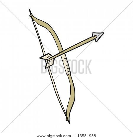 freehand drawn cartoon bow and arrow