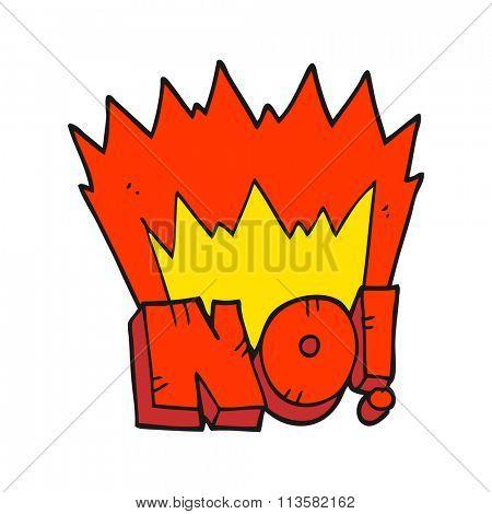 freehand drawn cartoon NO! shout