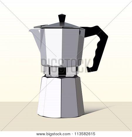 Realistic Italian Metalic Coffee Maker In Vector