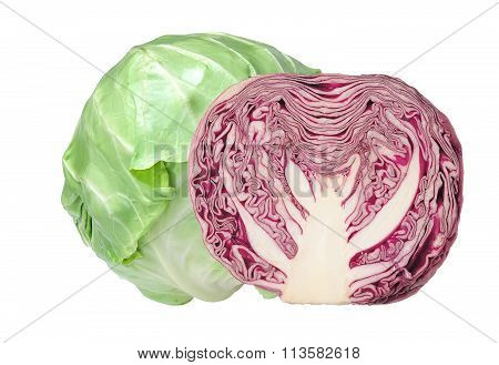 Tasty Green And Red Cabbage Isolated On White