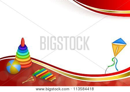 Background abstract toys pyramid ball kite blue green red yellow gold ribbon frame illustration