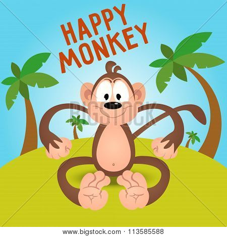 Happy Funny Cartoon Monkey In Vector