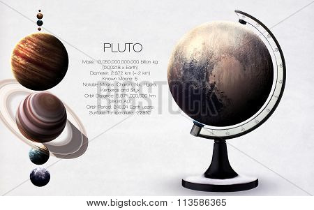 Pluto - High resolution images presents planets of the solar system. This image elements furnished b