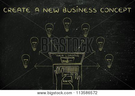 Laptop User Loading New Ideas (lightbulbs), With Text Create A New Business Concept